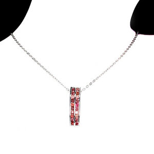 Sapphire Diamond Cut 2mm 14K White Gold Plated 925 Sterling Silver Necklace 18in