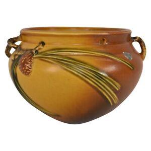 Vintage Roseville Pottery Pine Cone 1935 Brown Hanging Basket Planter 352-5