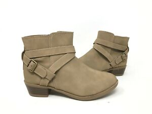 NEW! SO Girl's Youth Carisa Strappy Fashion Ankle Booties Taupe #12562 197HiJ tk