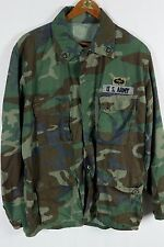 Vintage US Army BDU Uniform Shirt Jacket Woodland Green Camo Sz Large W/ Patches