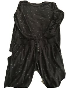 Motherhood Maternity 2 Pc Black and Gray Hearts Jogging Suit SizeL/XL Preowned