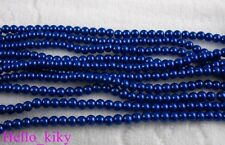 750 pcs Blue faux pearl glass beads Round 4mm M378