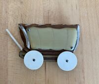 Large BAKELITE & Wood Covered Wagon Carved PIN BROOCH Moving Wheels