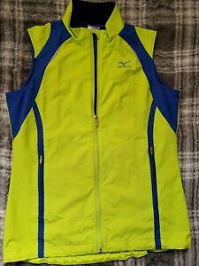 MIZUNO Bright Green WINDBREAKER VEST Cycling Running Jacket Coat Sz Womens SMALL