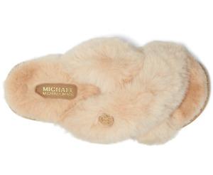 NEW Size 10 MICHAEL KORS Lala Camel Beige Faux Fur Slide Slipper NEW IN BOX