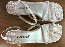 Classified Womens  Size 7 White Circles Thong Slingback Sandal High Heels