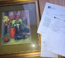 Laura Coombs Hills  (1859 - 1952)  Pastel Painting Still Life Flowers Paperwork