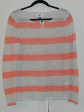 WOMEN'S OLD NAVY CORAL AND BEIGE STRIPE MESH-KNIT SWEATER - SIZE LARGE