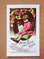 R&L Postcard: Girl Portrait with Dog Puppy, Birthday, Embossed Border, Tinted
