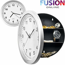 Wall Clock Safe With Secret Hidden Compartment Silver Money Stash Jewellery New