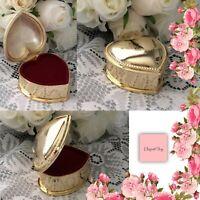 WEDDING RING BOX GOLD HEART JEWELLERY TRINKET PROPOSAL Bride & Groom Engagement