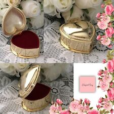 WEDDING RING BOX GOLD HEART JEWELLERY TRINKET PROPOSAL Bride & Groom Engagement