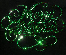 "9"" x 7"" green Merry Christmas rhinestone BLING iron on transfer for T-shirt"