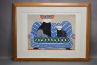 Laura Fiume Art Print PACIFICA SOCIETA Cat & Dog on Couch Pets Signed Framed