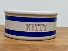 Kitty Dish Robinson Ransbottom Pottery Roseville OH Beige Blue Stripe Feeder 5