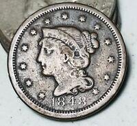 1848 Large Cent Matron Braided Hair 1C Details Good Date US Copper Coin CC3558