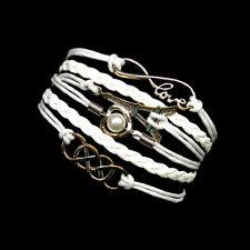 White Silver Infinity Bracelet Charm Love Paris Braided Wrap Fashion Jewelry