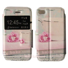 FUNDA LIBRO CASE DIBUJO CON VENTANA CUSTODIA PARA IPHONE 4 BAKE