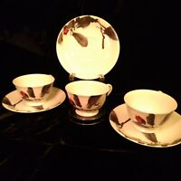 SANGO Japan SUMI-E by Ukai Uchiyama Lot of 3 Tea Cup & Saucer Sets Vintage