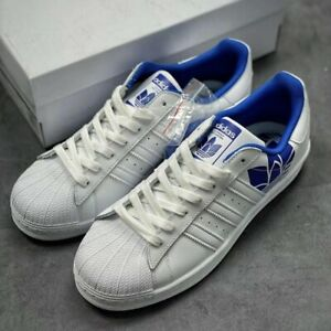 Adidas Originals Superstar Men Athletic Trainers Casual Sneaker White Blue Shoe