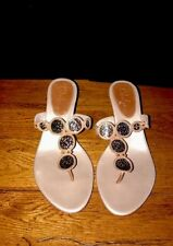 Cole HAAN Champagne Leather Thong W/ Bronze Discs Sandal With Wooden Heel 6B