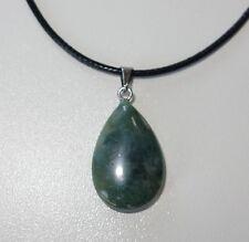 Echtstein Anhänger für Halskette - NEU - Achat Stein Tropfen Grün Geschenk 042