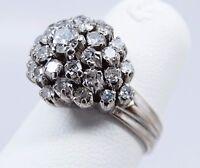 Antique 10K White Gold 1 ctw Mine Cut Diamond Cluster Cocktail Engagement Ring