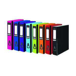 Pukka 5 x Office Box Files Colourful Lock Spring Foolscap Paper Over  - Assorted