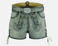 Damen Trachten Lederhose kurz in antik grau Hirsch Stickerei Gr.32-44