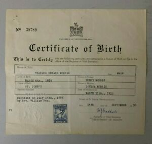 Newfoundland Revenue Document with NFR38 Affixed (Birth Cert.)