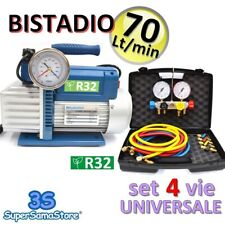 3S POMPA VUOTO BISTADIO 70 Lt OMOLOGATA R32 + GRUPPO MANOMETRICO 4 VIE + FRUSTE