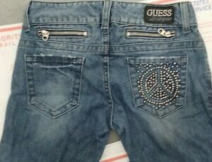 vintage guess jeans Los Angeles sequin peace sign zippered boot cut 26