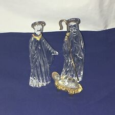 Gorham Clear Leaded Crystal Gold Trim Nativity Set Mary Joseph Jesus Germany