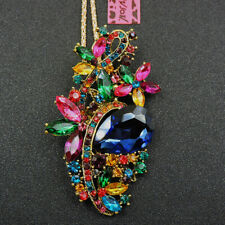 Women's Colorful Enamel Rhinestone Flower Pendant Betsey Johnson Necklace Gift
