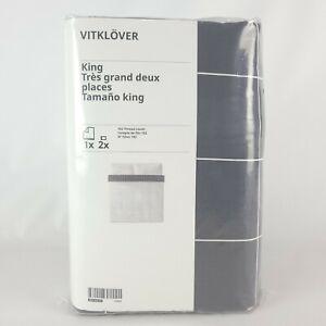 Ikea Vitklover King Duvet Cover w/2 Pillowcases Bed Set White/ Black Checked New
