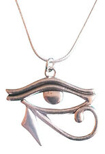 Eye of Horus- Ra Pendant 1mm 925 Silver Snake Chain Necklace Egypt Protection d5