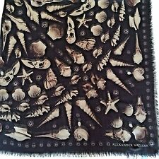 NEW AUTHENTIC ALEXANDER MСQUEEN SKULL SHELLS PRINT MULTI-COLOR BLACK MODAL SCARF