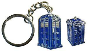 Doctor Who Tardis Time Machine Police Call Box Sci Fi Enamel Keyring & Badge NEW