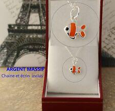 Cadeau pour enfant pendentif Poisson Nemo En Argent Massif avec chaine et boite