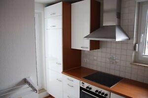 Einbauküche Nolte Front weiß hochglanz L-Form 310 x 335 cm, Ceranfeld + Backofen