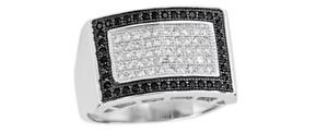 Pave White Cubic Zirconia & Black Onyx Men's Rectangle Fashion & Classy Ring