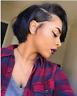 100% Brazilian Human Hair Short Straight Black Pixie Cut Full Hair Wig For women