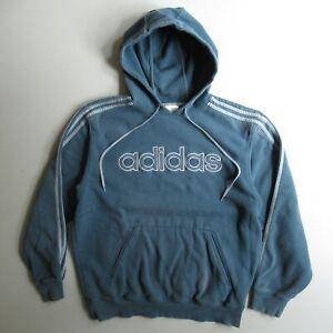 Adidas Hooded Sweatshirt Hoodie Blue Embroidered Fade Worn