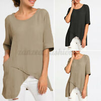Womens Short Sleeve T Shirt Casual Plain Blouse Basic Top Ladies Tunic Pullover