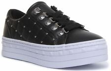 Guess Belma Active Womens Lace up Trainer In Black White Size UK 3 - 8