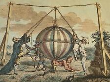 RARE Gravure XVIII CARICATURE MONTGOLFIERE AEROSTAT BALLON MONTGOLFIER 1780