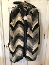 Umgee Vest Fake Fur Multi Color BNWT