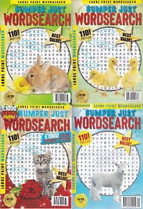 4 x Bumper Just Wordsearch Puzzle Books Mags 440 Puzzles Large Print Brand New