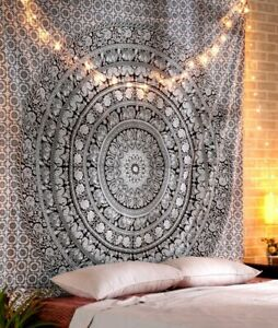 Home Tapestry Wall Hanging Single Bedsheet Beach Throw 100 % Cotton Soft Black