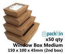 x50 MEDIUM KRAFT BROWN WINDOW LID BOXES for macarons cookies food gift packaging
